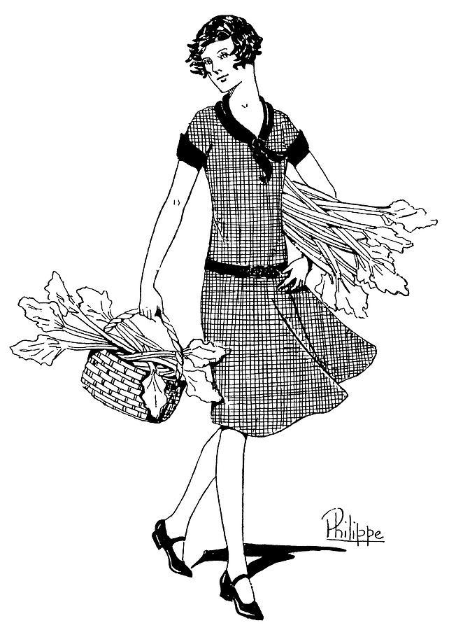 Rhubarb Drawing -  A Young Woman With A Bunch Of  Rhubarb by Mary Evans Picture Library