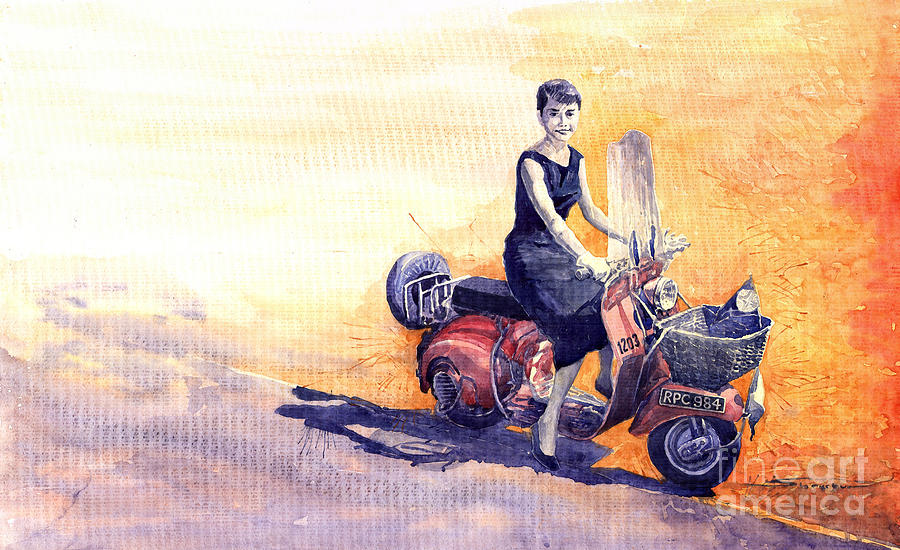 Watercolour Painting -  Audrey Hepburn And Vespa In Roma Holidey  by Yuriy  Shevchuk