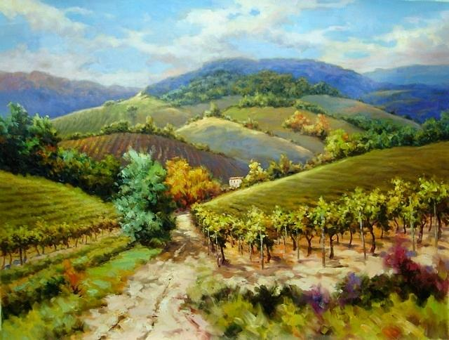 Tuscany Painting -  Autumn Wine Country Tuscany by David Kim