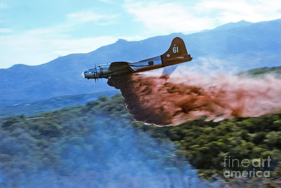 Air Tanker Photograph -  B-17 Air Tanker Dropping Fire Retardant by Bill Gabbert