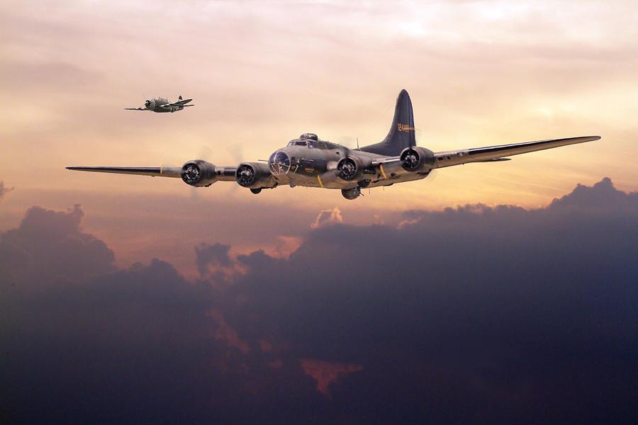 Aircraft Digital Art -  B17- Last Home by Pat Speirs