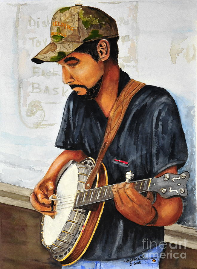 Banjo Painting -  Banjo Player by John W Walker
