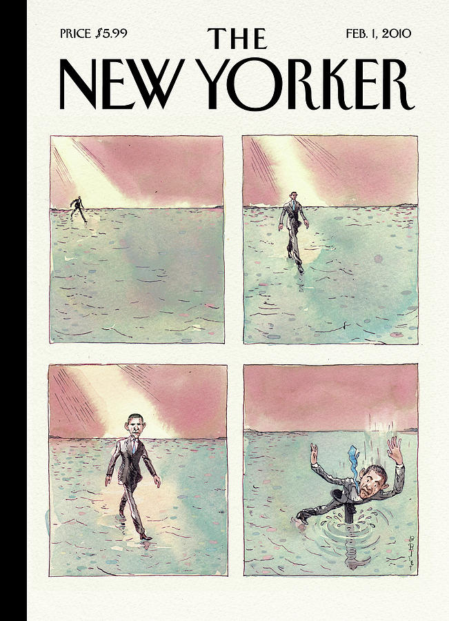 Obama Walking On Water Painting by Barry Blitt