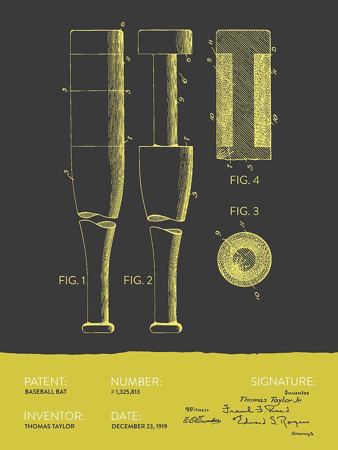 Baseball Bat Patent From 1919 - Gray Yellow Digital Art