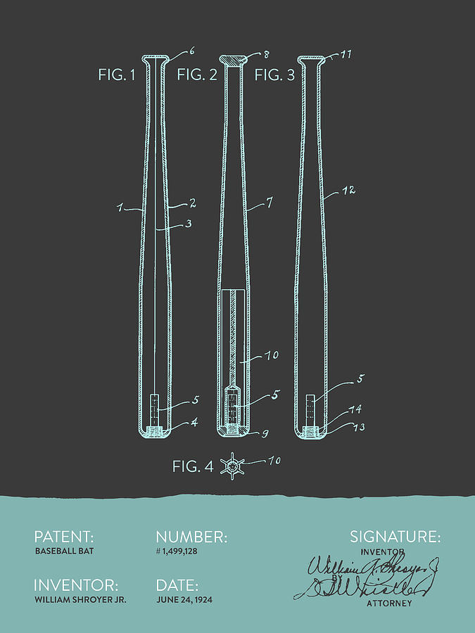 Baseball Bat Patent From 1924 - Gray Blue Digital Art