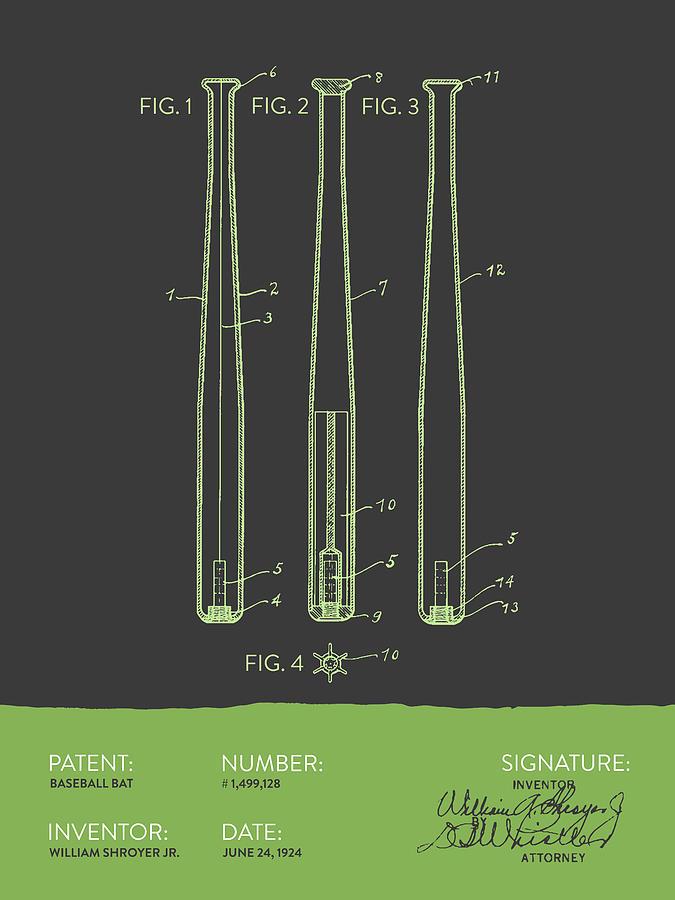Baseball Digital Art -  Baseball Bat Patent from 1924 - Gray Green by Aged Pixel