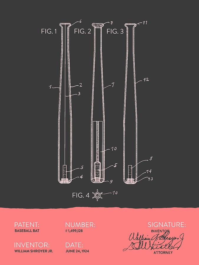 Baseball Bat Patent From 1924 - Gray Salmon Digital Art