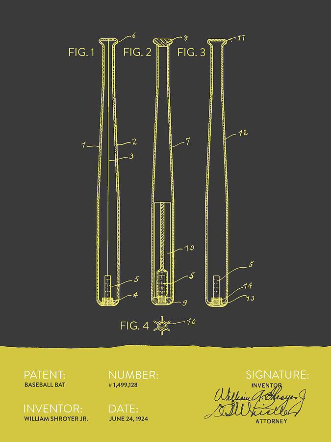Baseball Bat Patent From 1924 - Gray Yellow Digital Art