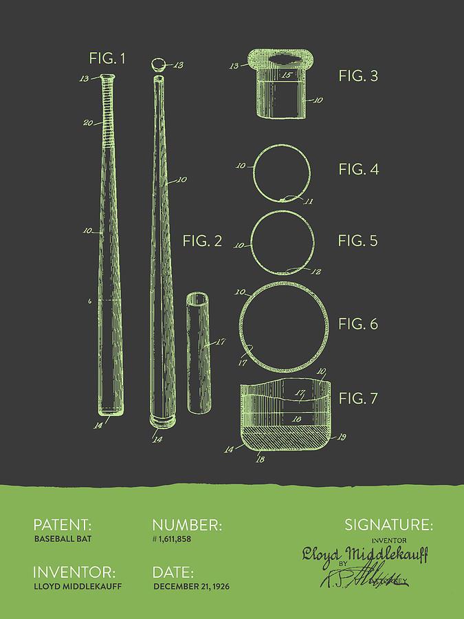 Baseball Bat Patent From 1926 - Gray Green Digital Art