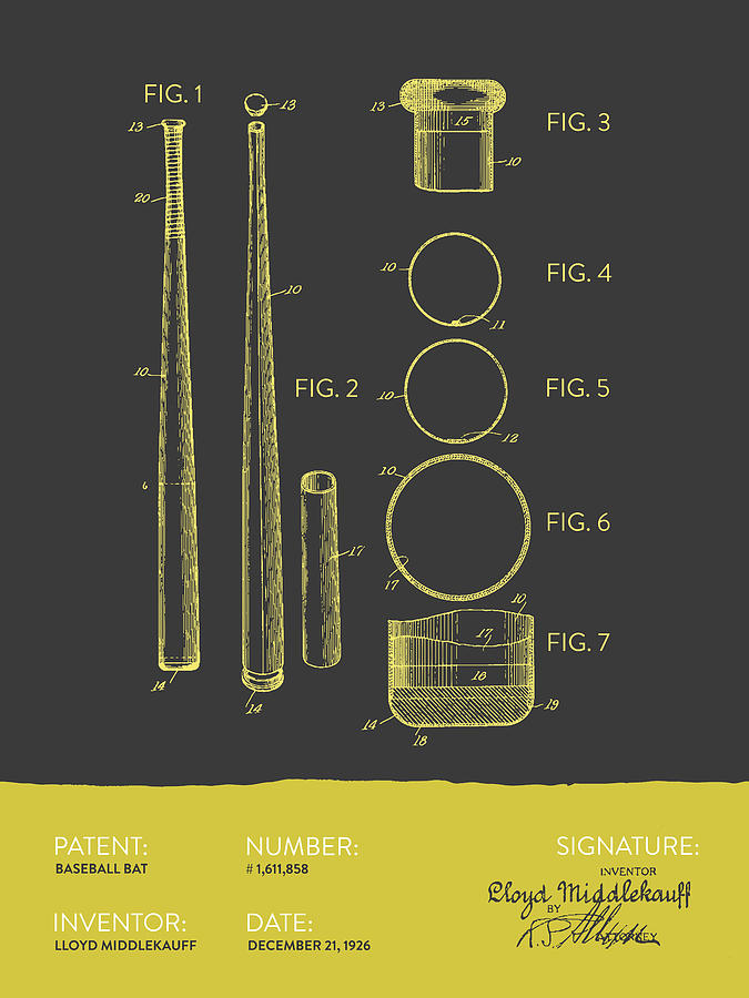 Baseball Bat Patent From 1926 - Gray Yellow Digital Art