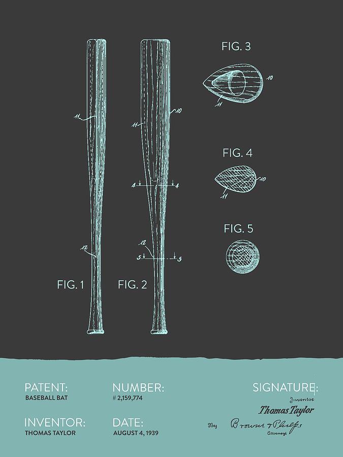 Baseball Bat Patent From 1939 - Gray Blue Digital Art