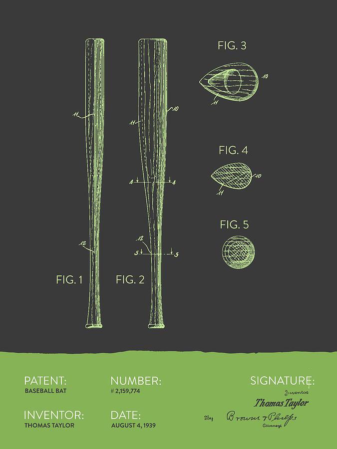 Baseball Bat Patent From 1939 - Gray Green Digital Art
