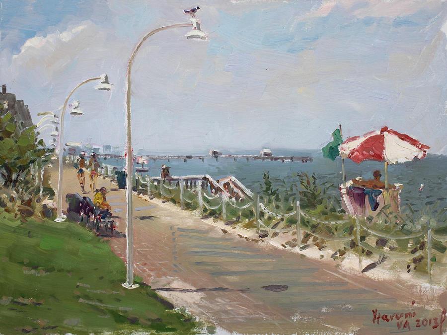 Norfolk Painting -  Beach Border Walk In Norfolk Va by Ylli Haruni