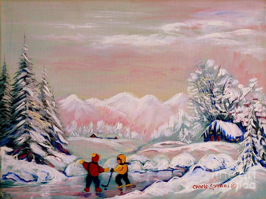 Country Scene Painting -  Beautiful Winter Fairytale by Carole Spandau