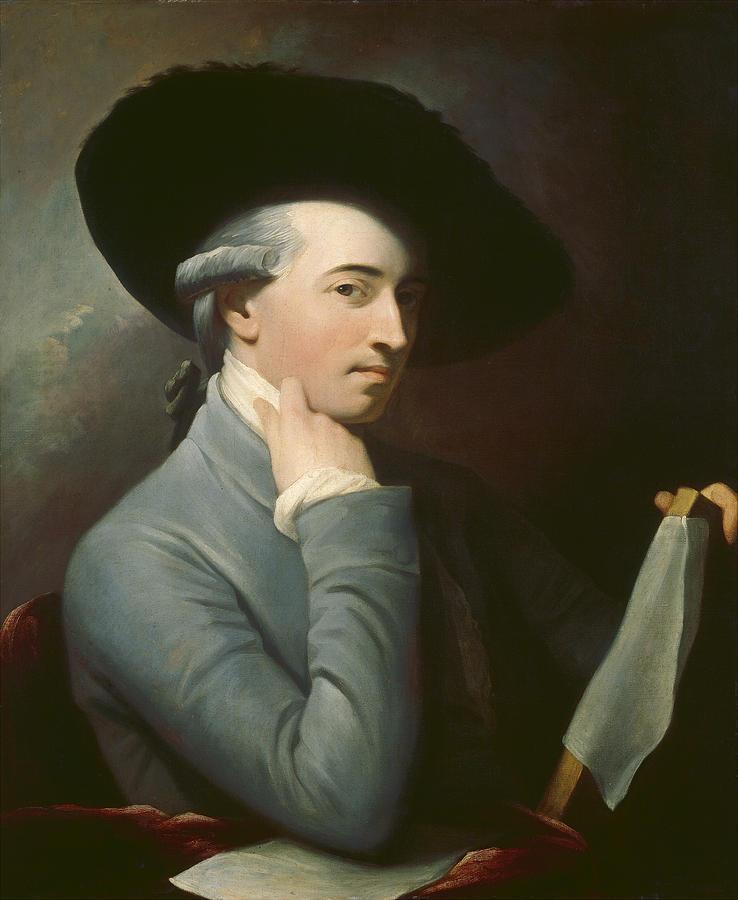Copy; English School; C19th; Male; Portrait; Half Length; Artist; Painter; Hat; Seated; Self-portrait;  Painting -  Benjamin West by Benjamin West