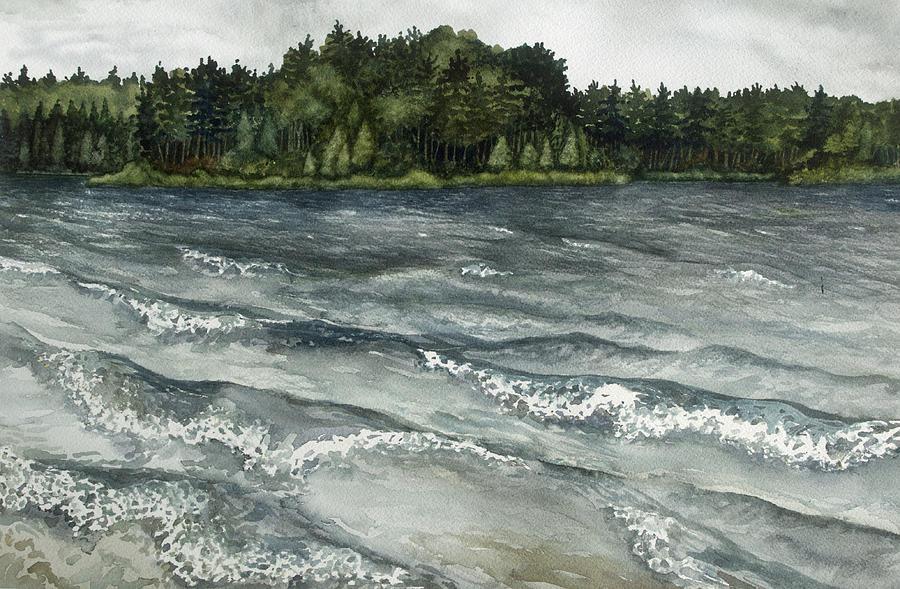 Plein Air Painting -  Big Muskallunge Lake  by Helen Klebesadel