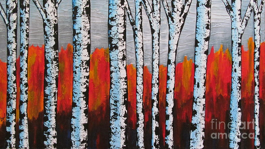 Birch Trees Painting By Beverly Livingstone