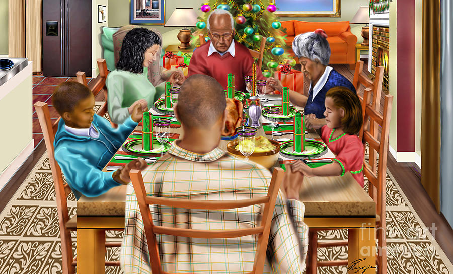 Christmas Painting -  Bless Us O Lord And These Thy Gifts by Reggie Duffie