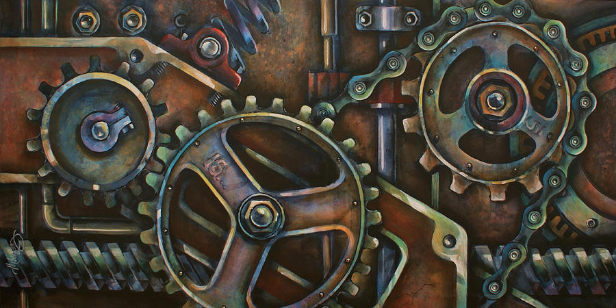 Steam Punk Painting -  blue Harmony by Michael Lang