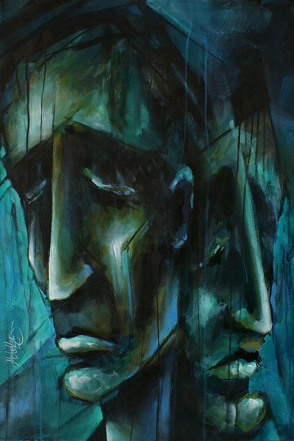 Portrait Painting -  blue by Michael Lang