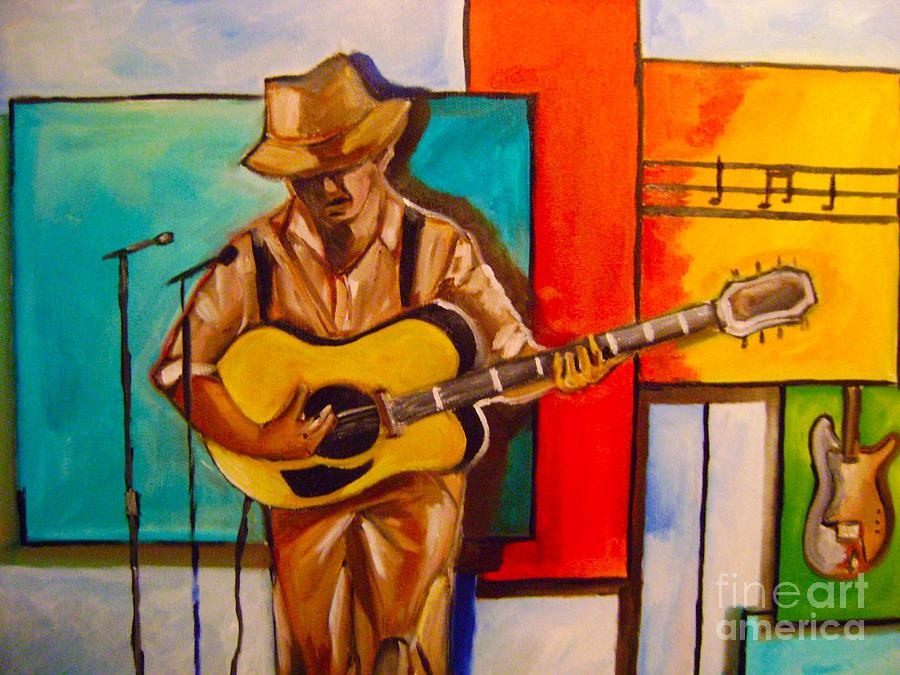 Music Painting -  Bluesman by Sidney Holmes