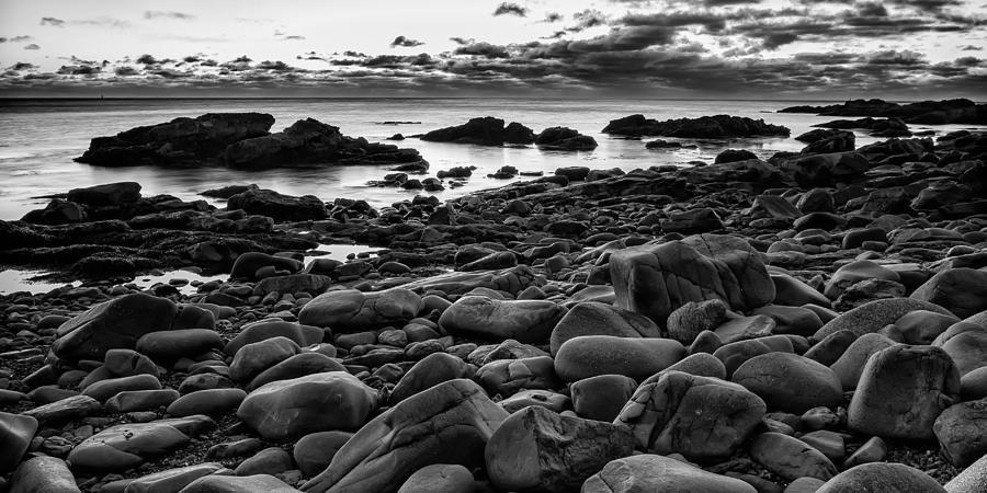 Grey Photograph -  Boulders At Sunrise Marginal Way by Jeff Sinon