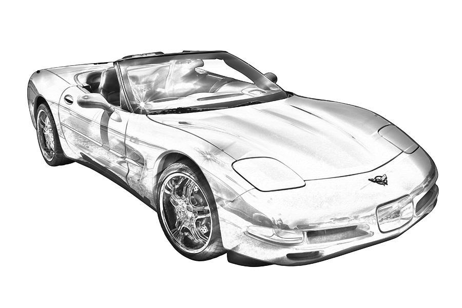 c5 corvette convertible muscle car illustration photographkeith