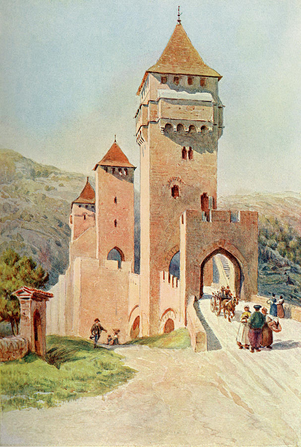 France Drawing -  Cahors  Pont Valentre        Date 1904 by Mary Evans Picture Library