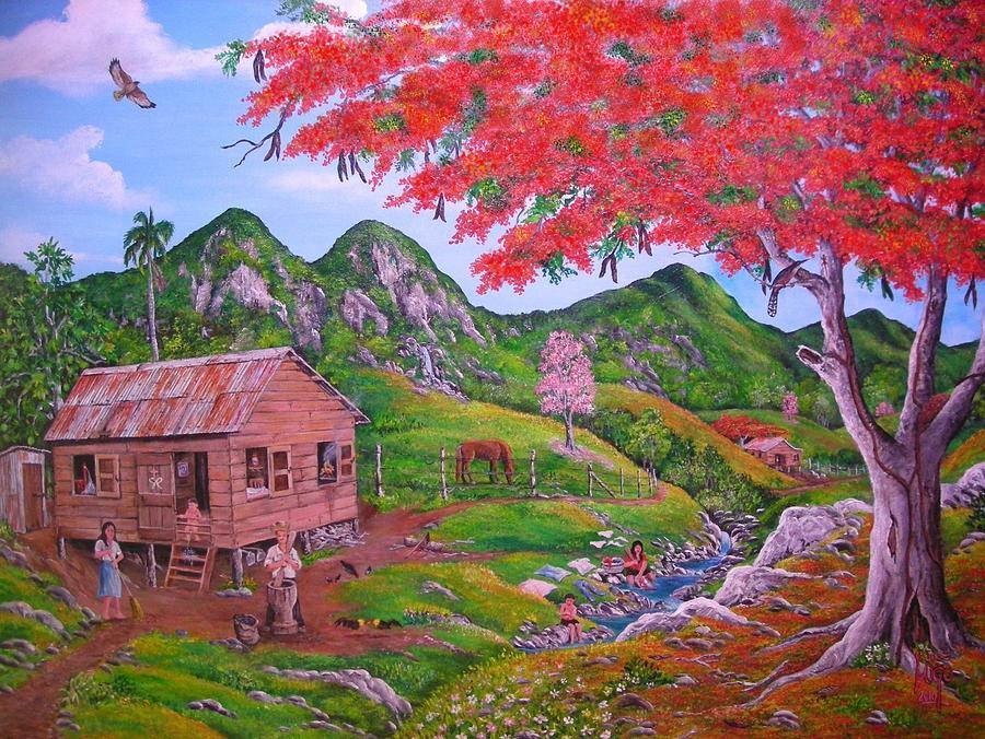 Landscape Painting -  Casita De Campo by Jose Lugo