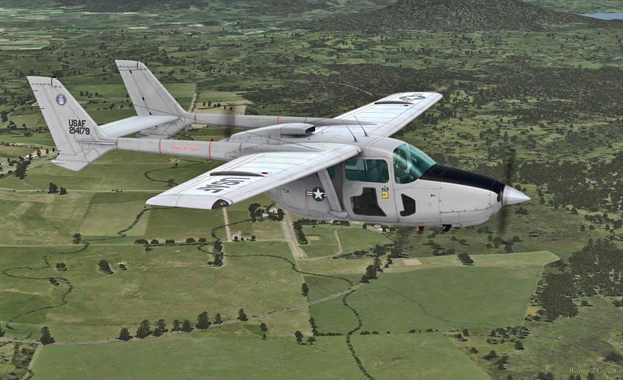Skymaster Digital Art -  Cessna O-2A Skymaster by Walter Colvin
