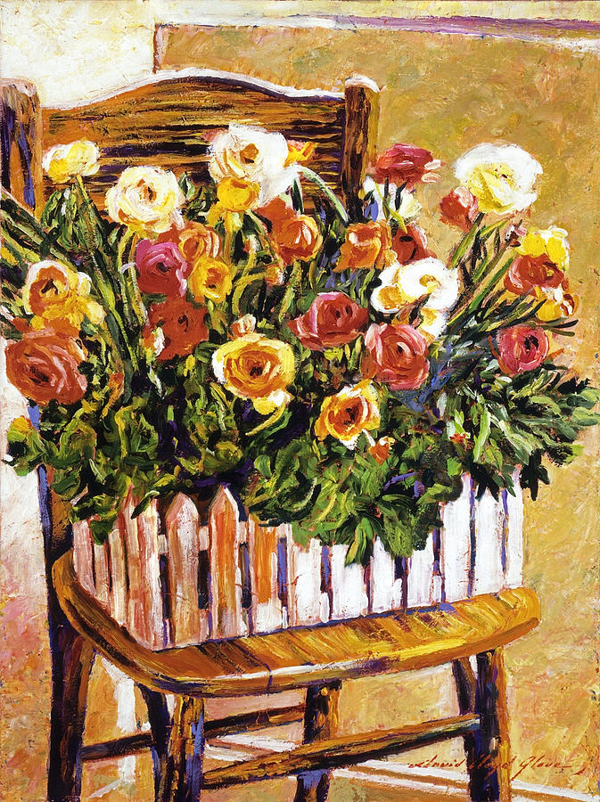 Still Life Painting -  Chair Of Flowers by David Lloyd Glover