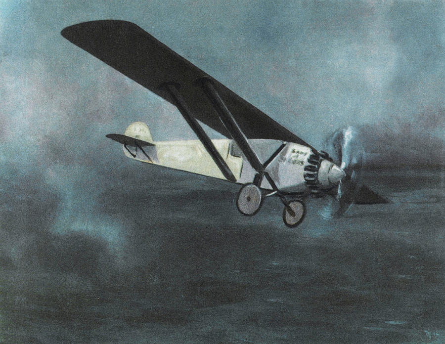 Lindbergh Drawing -  Charles Lindbergh Is The First  To Fly by Mary Evans Picture Library