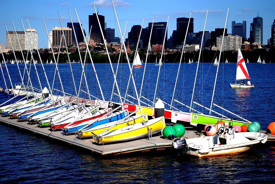 Boating Photograph -  Charles River Sailboats Boston by Ronald Bartels