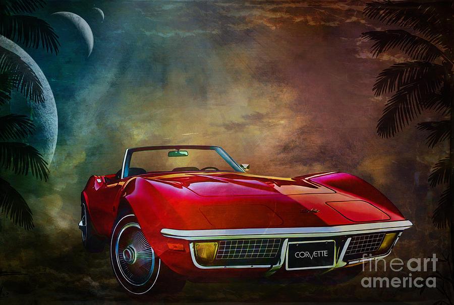 Car Painting -  Chevrolet Corvette1972 by Andrzej Szczerski
