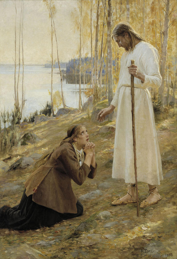 Albert Edelfelt Painting -  Christ And Mary Magdalene A Finnish Legend by Albert Edelfelt