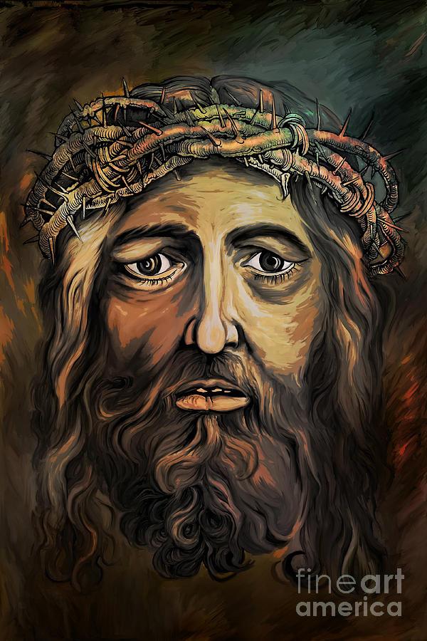 Christ Painting -  Christ With Thorn Crown. by Andrzej Szczerski