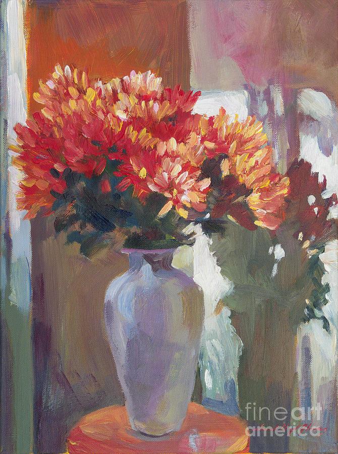 Still Life Painting -  Chrysanthemums In Vase by David Lloyd Glover