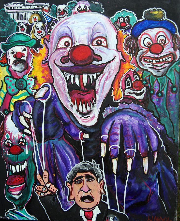 Clown Painting -  Clown Running  White House by Ottoniel Lima