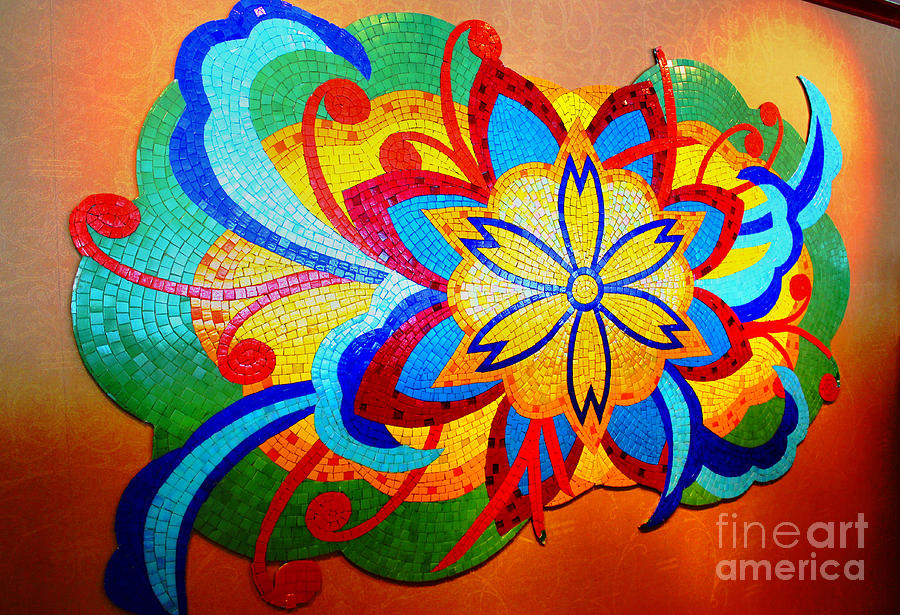 Colorful Abstract Photograph -  Colorful Tile Abstract by Judy Palkimas