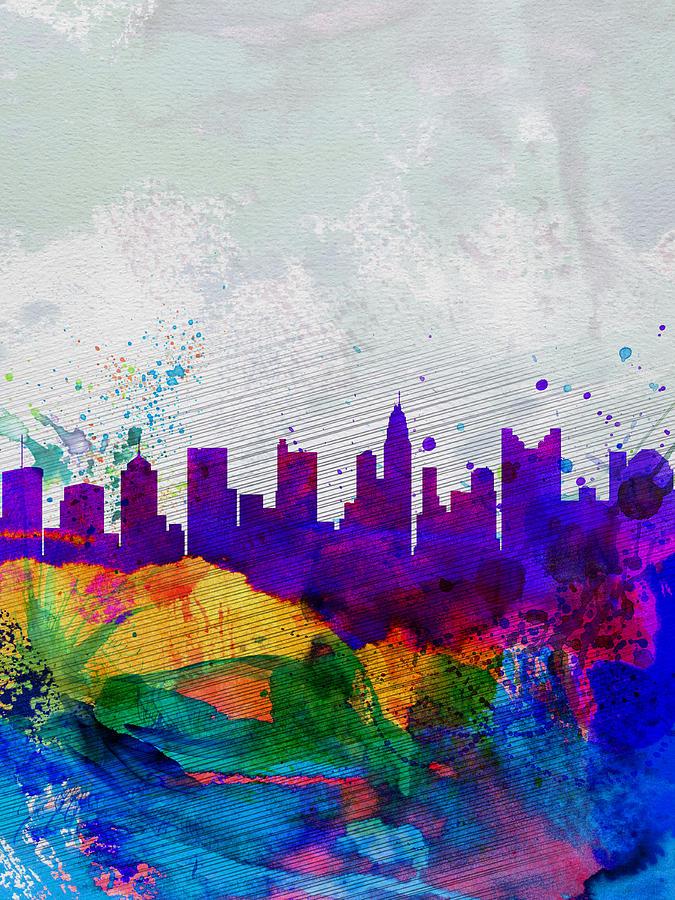 Columbus Painting -  Columbus Watercolor Skyline by Naxart Studio