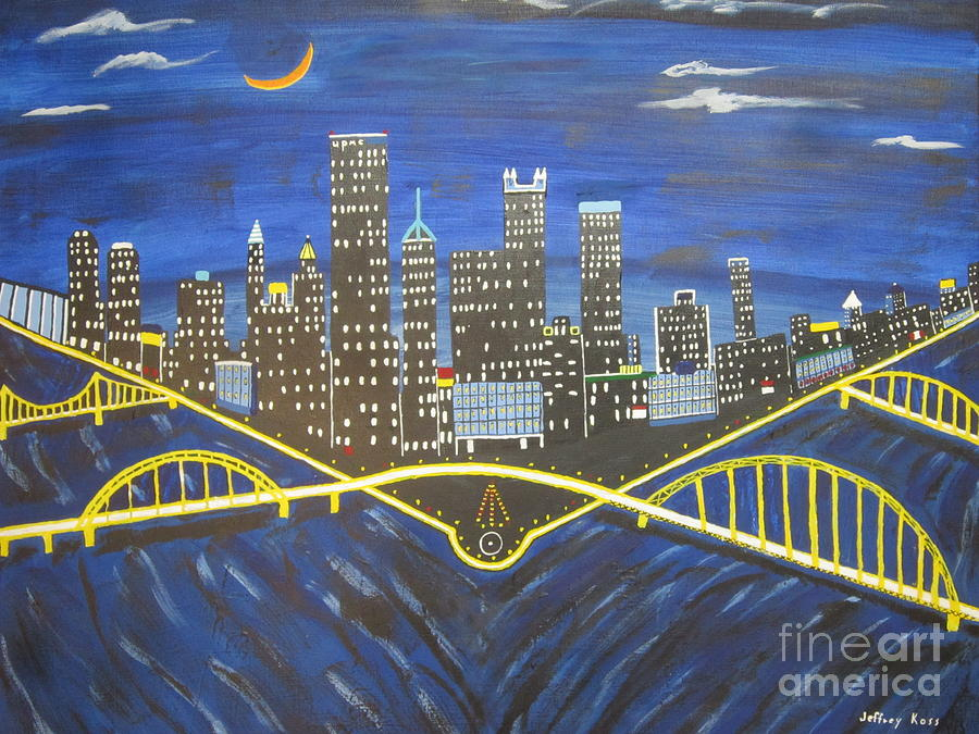 Rivers Painting -  Crescent Over Pittsburgh  by Jeffrey Koss