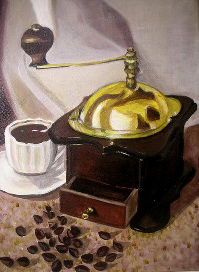 Brown Painting -  Cup Of Coffee by Vera Lysenko