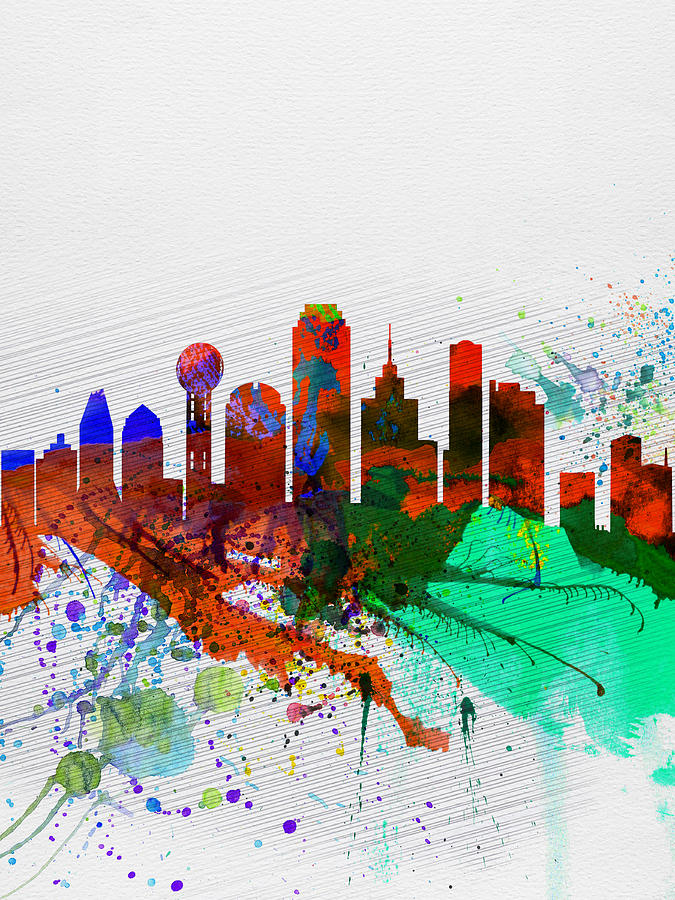 Dallas Watercolor Skyline Painting By Naxart Studio