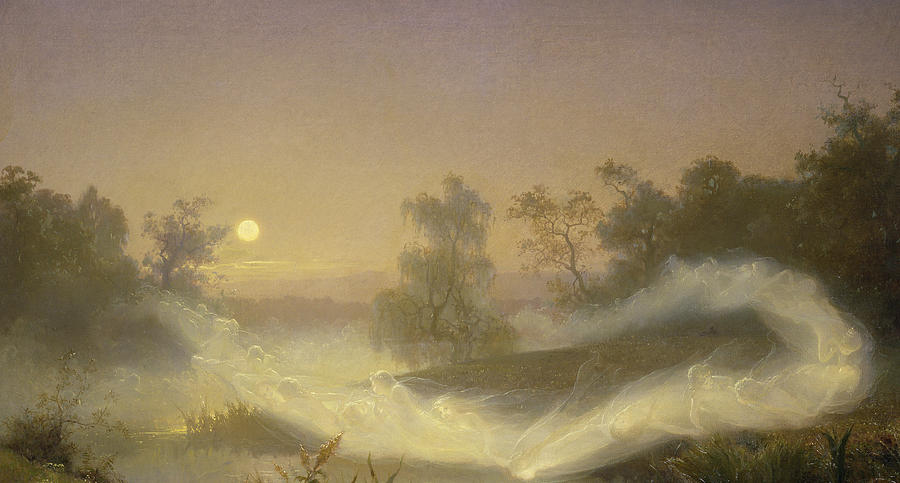 Spirit Painting -  Dancing Fairies by August Malmstrom