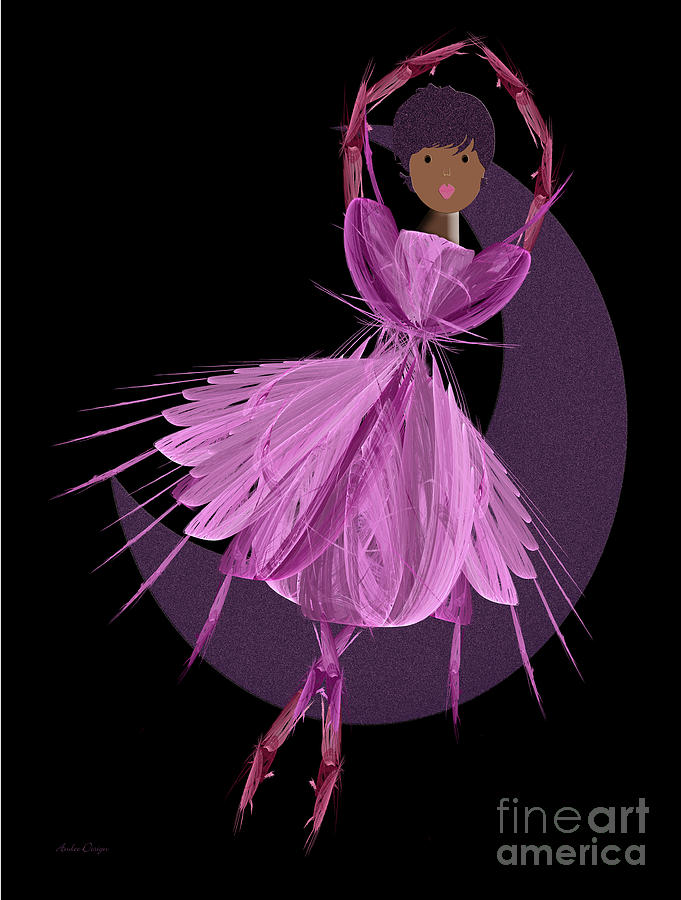 Ballerina Digital Art -  Dancing With The Moon B by Andee Design