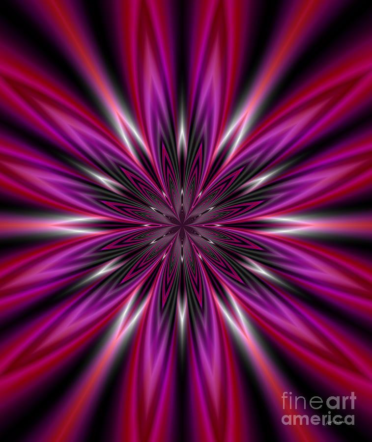 Flower Digital Art -  Dark Purple Abstract Star Duvet Cover  by Heinz G Mielke