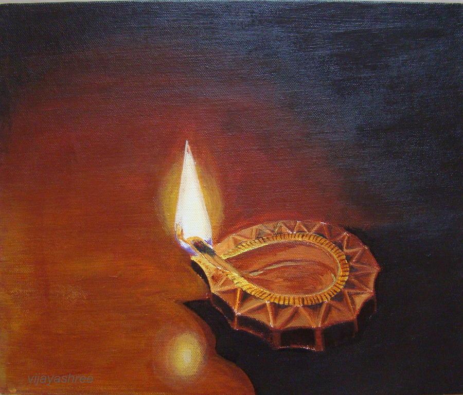 Deepa Painting By Vijayashree Nataraja