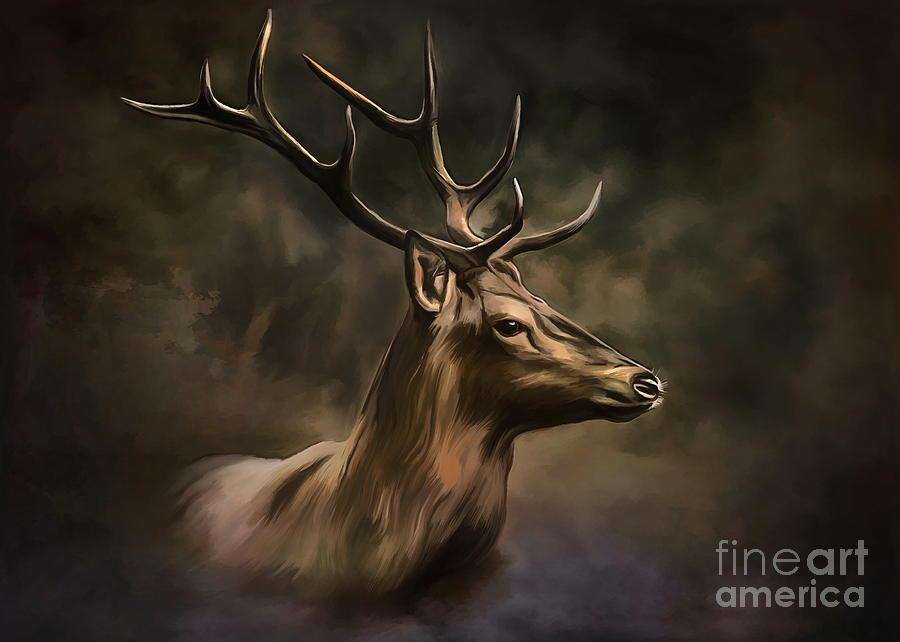 Deer Painting -  Deer by Andrzej Szczerski