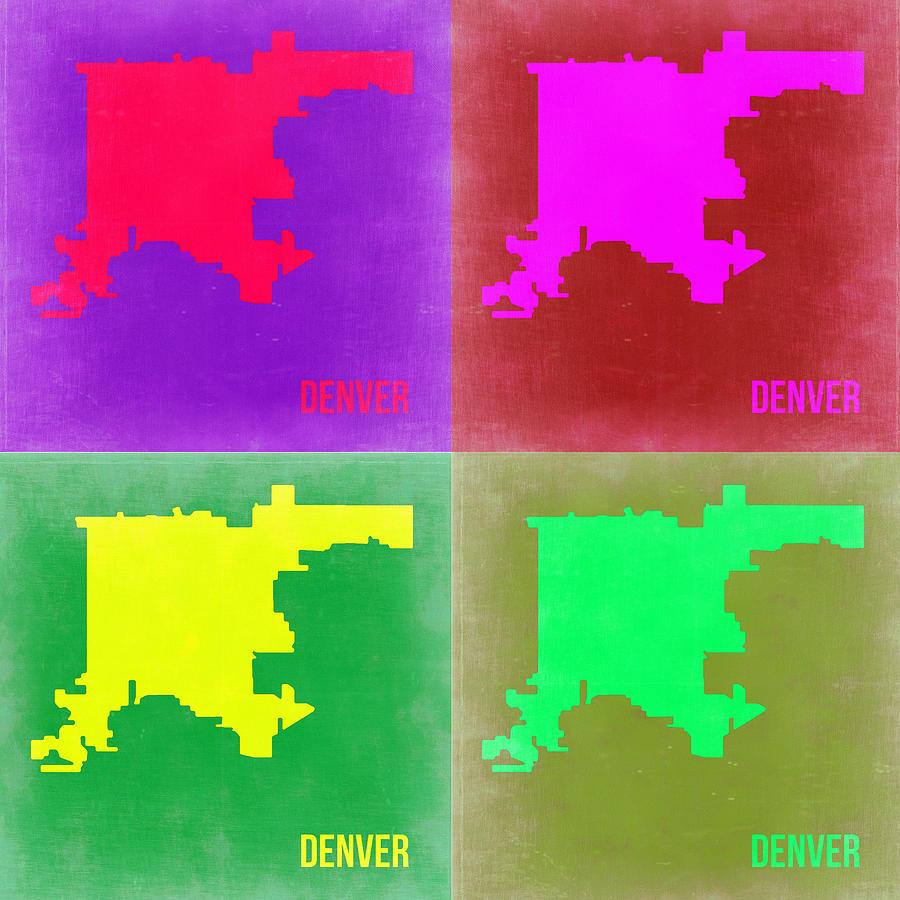Painting -  Denver Pop Art Map 2 by Naxart Studio