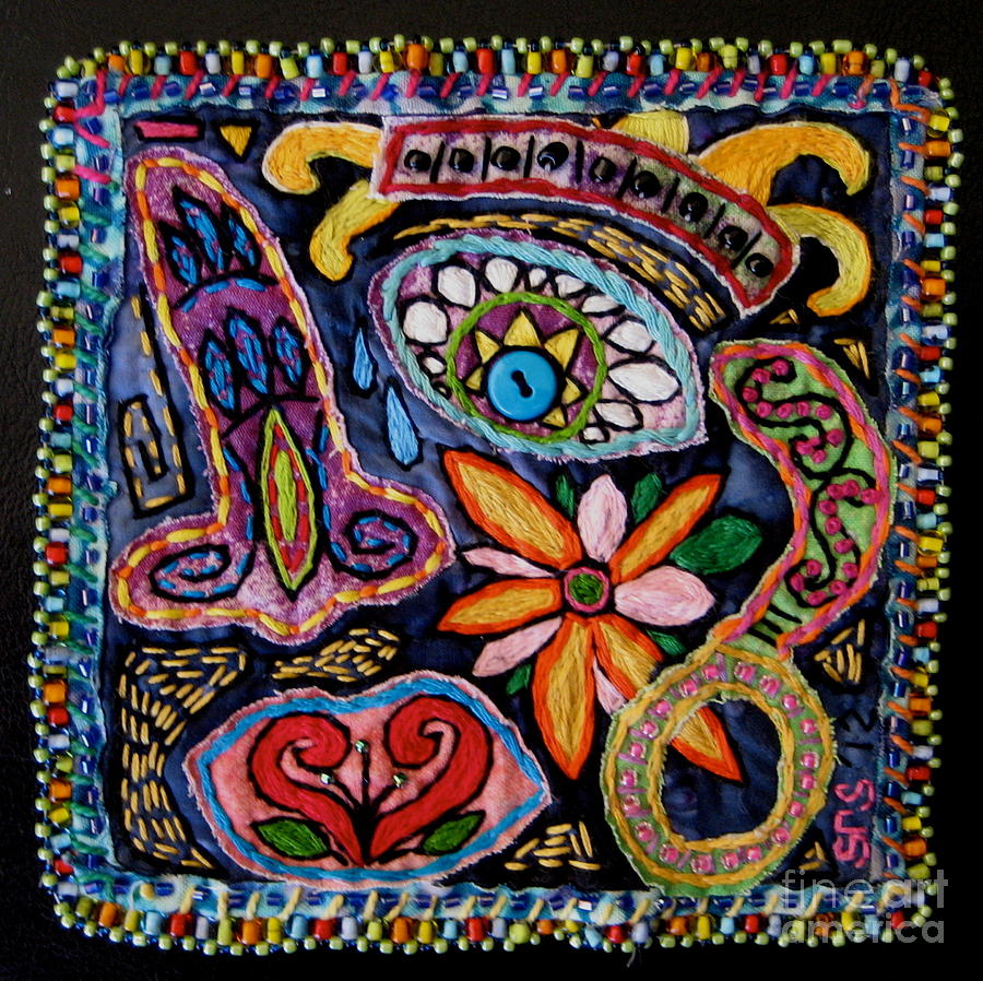 Textile Tapestry - Textile -  Dia De Los Muertos  by Susan Sorrell